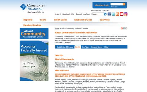 Screenshot of Signup Page cfcu.org - Join Us - Community Financial Credit Union - captured Aug. 17, 2017