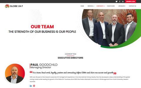 Screenshot of Team Page globe24-7.com - Our Team | Globe 24-7 - captured July 21, 2018