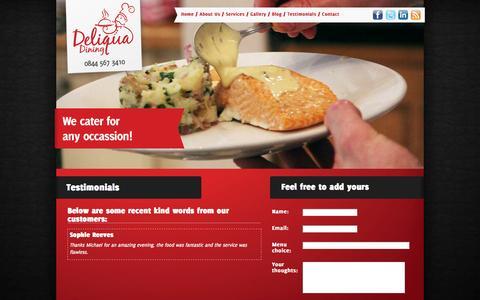 Screenshot of Testimonials Page deliqua.co.uk - Deliqua Dining - Testimonials - Home cooked delights in full chef whites - captured Oct. 1, 2014