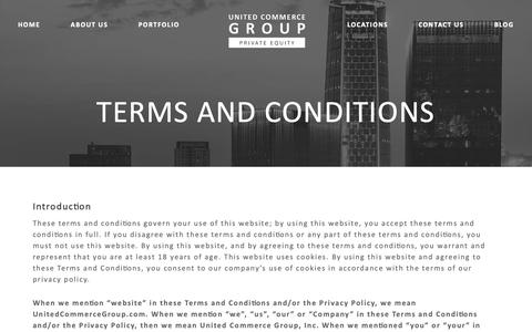 Screenshot of Terms Page unitedcommercegroup.com - Terms and Conditions – United Commerce Group - captured Oct. 18, 2018