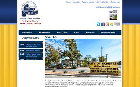 Screenshot of About Page schertzchamber.org - Schertz Chamber of Commerce - About Us - captured Oct. 4, 2014