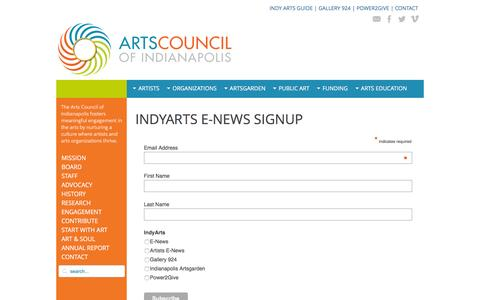 Screenshot of Signup Page indyarts.org - IndyArts E-news Sign-up - IndyArts.org - captured Feb. 6, 2016