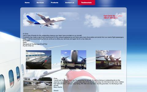Screenshot of Testimonials Page adnz.co.nz - Testimonials - Aircraft Detailing New Zealand - captured Oct. 4, 2014