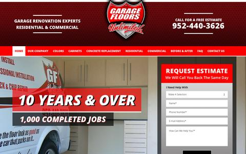 Screenshot of Home Page gfunlimited.com - Minneapolis MN Garage Floor Coatings Resurfacing Repair Concrete Epoxy - captured Oct. 25, 2016