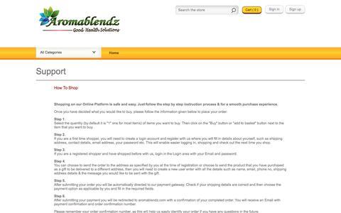 Screenshot of Support Page aromablendz.com - Support | www.aromablendz.com - captured Nov. 21, 2016