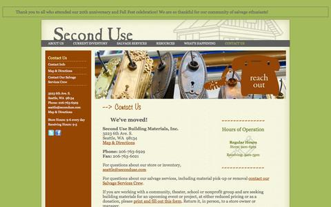 Screenshot of Contact Page seconduse.com - Contact Info | Second Use, Seattle: Building Materials, Salvage, & Deconstruction - captured Sept. 23, 2014