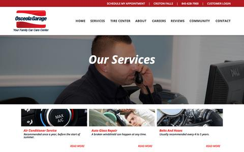 Screenshot of Services Page osceolagarage.com - Services Archive - Osceola Garage - captured Sept. 21, 2018