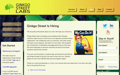 Screenshot of Jobs Page ginkgostreet.com - Ginkgo Street Is Hiring | Ginkgo Street Labs - captured Sept. 28, 2018