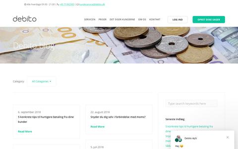 Screenshot of Blog debito.dk - Debito ApS siger… - captured Oct. 8, 2018
