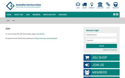 Screenshot of Signup Page asuwa.org - ASUWA   Join - captured March 29, 2016