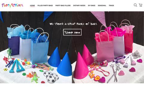 Screenshot of Home Page partystrings.co.uk - Filled Party Bags | Boys Bags | Girls Bags - Party Strings - captured July 16, 2018