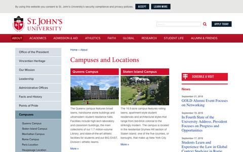 Screenshot of Locations Page stjohns.edu - Campuses and Locations | St. John's University - captured Sept. 22, 2018