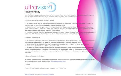 Screenshot of Privacy Page ultravisiongroup.com - Privacy Policy - UltraVision Group - captured Oct. 6, 2014