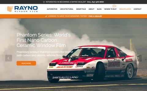 Screenshot of Home Page raynofilm.com - Superior Window Film - Car, Home, Commercial | Rayno - captured Oct. 18, 2018