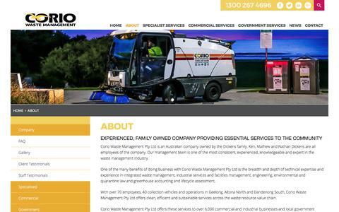 Screenshot of About Page coriowm.com.au - About | Corio Waste Management - captured Aug. 26, 2017