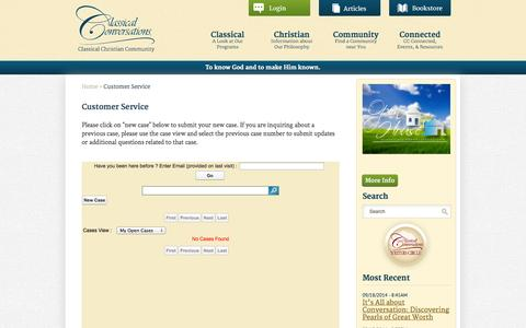 Screenshot of Support Page classicalconversations.com - Customer Service | Classical Conversations - captured Sept. 19, 2014