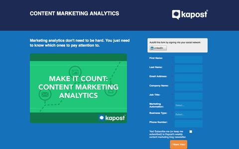 Screenshot of Landing Page kapost.com - Content Marketing Analytics | Kapost - captured March 14, 2016
