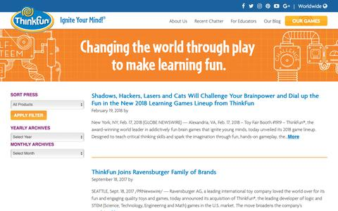 Screenshot of Press Page thinkfun.com - Press Release Archive - Thinkfun - captured Sept. 30, 2018