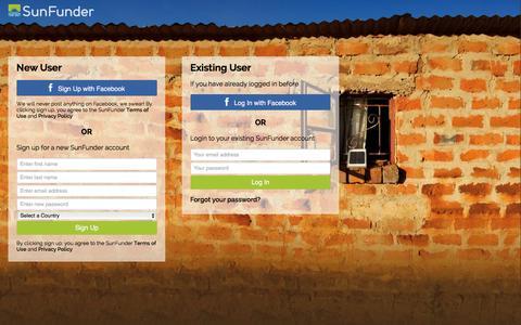 Screenshot of Login Page sunfunder.com - SunFunder Login - captured Dec. 4, 2015