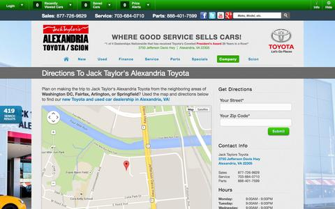 Screenshot of Maps & Directions Page alexandriatoyota.com - Toyota Dealership | Alexandria Toyota - captured Oct. 4, 2014