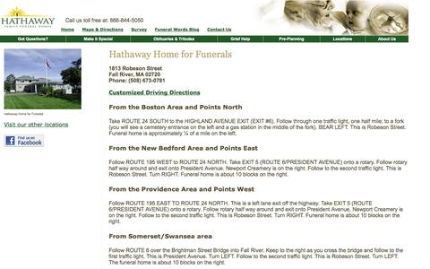 Screenshot of Maps & Directions Page hathawayfunerals.com - Hathaway Family Funeral Home: Directions - captured Oct. 27, 2014
