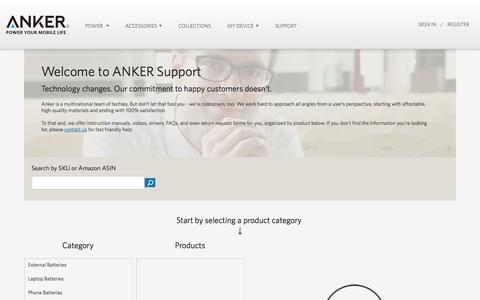 Screenshot of Support Page ianker.com - Anker |  Support - captured Oct. 29, 2014