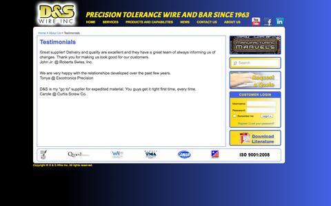 Screenshot of Testimonials Page dswire.com - Testimonials   D & S Wire Inc. - captured Sept. 26, 2014