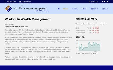 Screenshot of About Page ppsadvisors.com - About | Wisdom In Wealth Management - captured Oct. 9, 2016