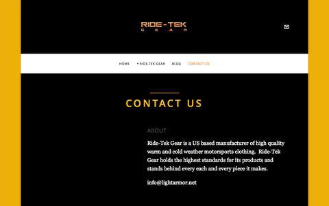 "Screenshot of Contact Page ridetekgear.com - Contact Us — ""A Dealer Driven Company"" - captured Oct. 6, 2014"