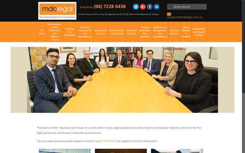Screenshot of Press Page mdclegal.com.au - News And Publications - MDC Legal - Perth - captured Nov. 5, 2018
