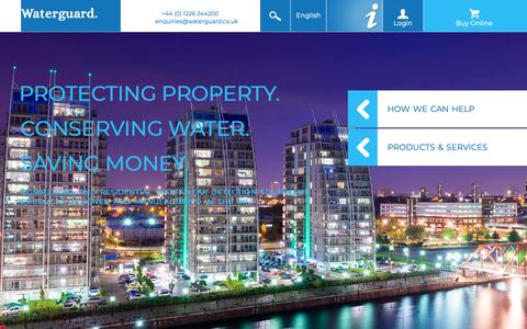 Screenshot of Home Page waterguard.co.uk - Waterguard | Water Leak Detection Systems and Products - captured Oct. 20, 2018