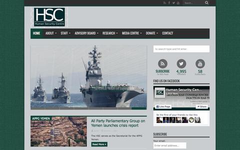 Screenshot of Home Page hscentre.org - Human Security Centre - captured May 1, 2016