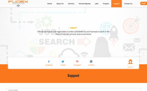 Screenshot of Support Page fudex.com.sa - Support – Fudex | E-Bussiness solution company - captured Oct. 24, 2018