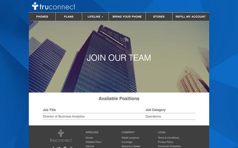Screenshot of Jobs Page truconnect.com - Careers - captured Jan. 17, 2018