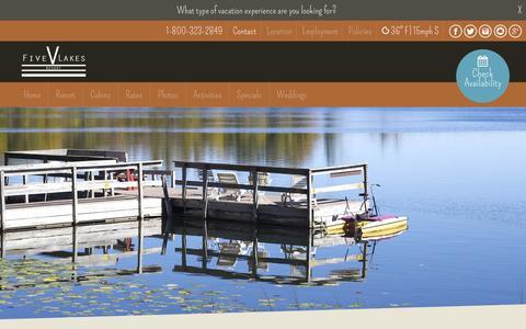 Screenshot of Contact Page fivelakesresort.com - Contact - Five Lakes ResortFive Lakes Resort - captured March 5, 2016