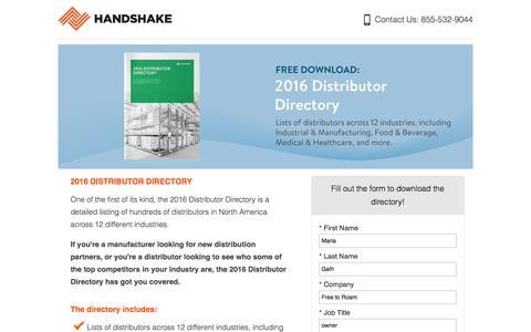 Screenshot of Landing Page handshake.com captured Oct. 30, 2016