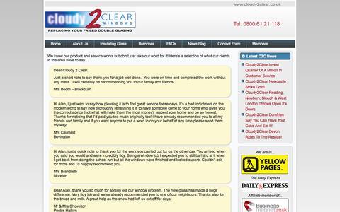 Screenshot of Testimonials Page cloudy2clearwindows.co.uk - Testimonials | Cloudy 2 Clear Windows - captured Sept. 30, 2014
