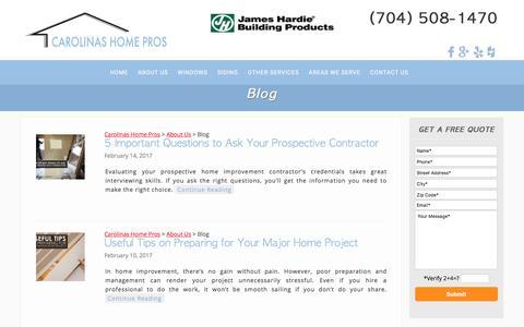 Screenshot of Blog carolinashomepros.com - Blog | Carolinas Home Pros | Charlotte, NC - captured May 15, 2017