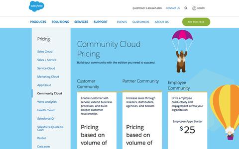 Screenshot of Pricing Page salesforce.com - Editions & Pricing - Community Cloud - Salesforce.com - captured March 9, 2017