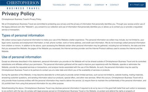 Christopherson Business Travel | Corporate Travel Management | Privacy Policy