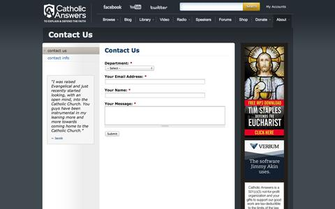 Screenshot of Contact Page catholic.com - Contact Us | Catholic Answers - captured Sept. 18, 2014