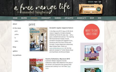 Screenshot of Press Page annabel-langbein.com - Annabel Langbein – Media - captured Sept. 19, 2014