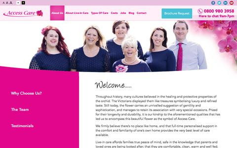Screenshot of About Page access-care.co.uk - About Our Specialist Live-In Care Agency - Access Care - captured Nov. 20, 2016