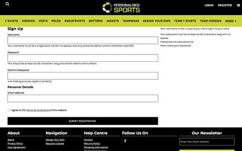 Screenshot of Signup Page personalisedsports.com - Signup personalisedsports - captured July 17, 2018