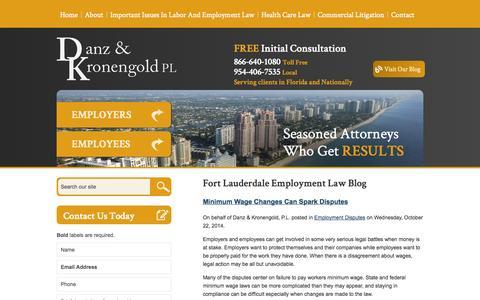 Screenshot of Blog danzlaw.net - Fort Lauderdale Employment Law Blog | Danz & Kronengold, P.L. - captured Nov. 3, 2014