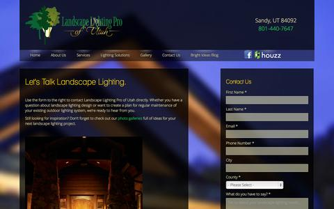 Screenshot of Contact Page utahlights.com - Contact Landscape Lighting Pro of Utah - captured Oct. 1, 2014
