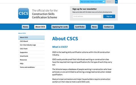 Screenshot of About Page cscs.uk.com - Construction Skills Certification Scheme | Official CSCS Website - About CSCS - captured Oct. 12, 2016