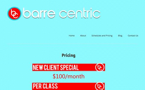 Screenshot of Pricing Page barrecentric.com - Pricing | Barre Centric Buffalo - captured July 28, 2016