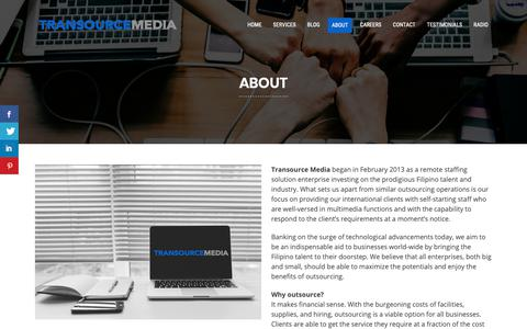 Screenshot of About Page transourcemedia.com - About - Transource Media - captured Nov. 17, 2018