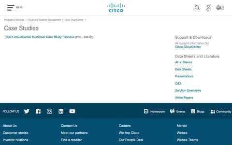 Screenshot of Case Studies Page cisco.com - Cisco CloudCenter - Case Studies - Cisco - captured Oct. 31, 2018
